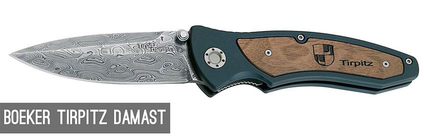 Einhandmesser aus Damststahl - Boeker Tirpitz